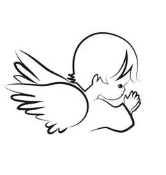 praying angel child believe icon vector image