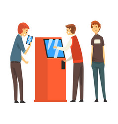 queue people to atm man getting money through vector image