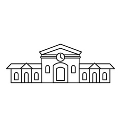 Railway station building icon outline style vector