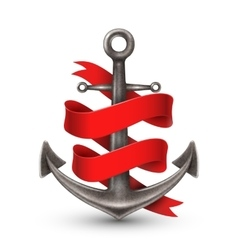 Realistic Anchor With Red Ribbon vector image