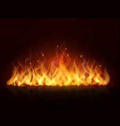 realistic flame burning fiery hot wall fireplace vector image