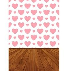 Realistic wood floor and wall with pink hearts vector image