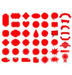 red label tag set ribbon sticker banner vector image