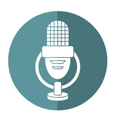 Retro microphone voice icon shadow vector
