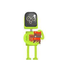 Robot librarian character android with book in vector