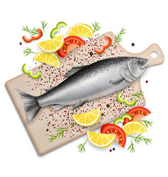 Salmon red fish on cutting board realistic vector