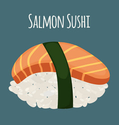 salmon sushi - asian food with fish rice vector image