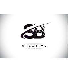 Sb s b letter logo design with swoosh and black vector