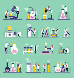 Science lab flat icons vector