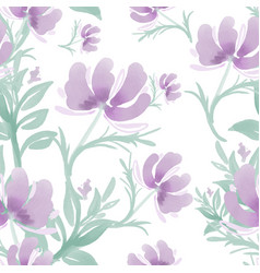 seamless pattern with cute flower on white vector image