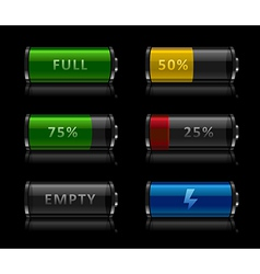 Set battery level icons vector