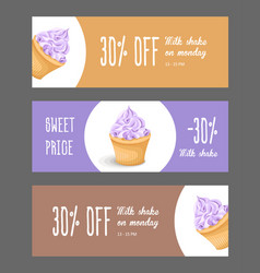 set of horizontal narrow banners with cake vector image