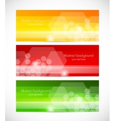 Set of tech banners with hexagons vector image