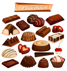 set yummy assorted chocolate food dessert vector image