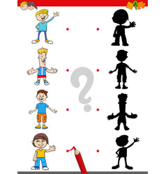 Shadow game with cartoon boys characters vector