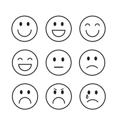 Smiling cartoon face people emotion icon set vector