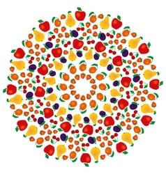 Summer fruity mandala coloring book colored vector