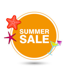 summer sale in circle with icons vector image