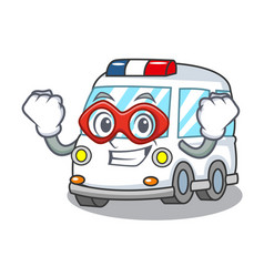 Super hero ambulance character cartoon style vector