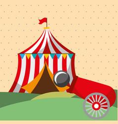 Tent shooting cannon carnival fun fair festival vector