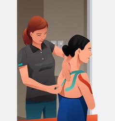 Therapist massage injured shoulder vector