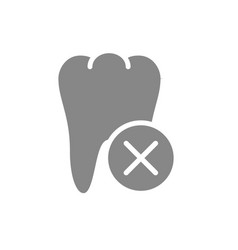 Tooth with cross checkmark gray icon diseased vector