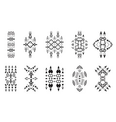 Tribal Elements Set Ethnic Collection Aztec Art vector