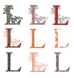 various combination fishnet letter l vector image