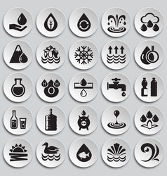 Water icon set on plates background for graphic vector