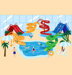 Water park slide with people vector