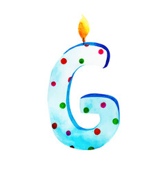 Watercolor happy birthday letter g candle vector