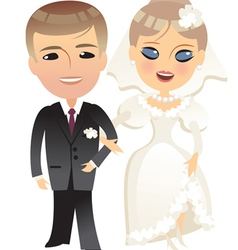 wedding bride and groom cartoon vector image