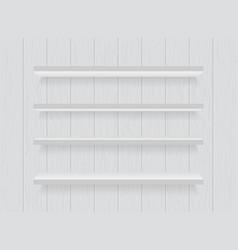 White wooden shelf on wood wall bookshelf vector