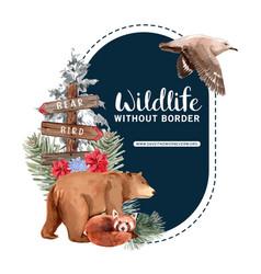Winter animal wreath design with bear fox bird vector