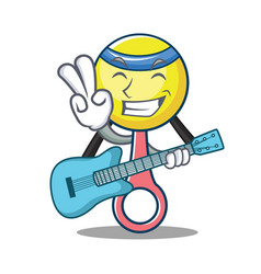 With guitar rattle toy mascot cartoon vector