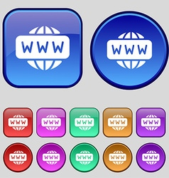 Www icon sign a set of twelve vintage buttons for vector