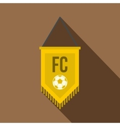 Yellow pennant with soccer ball icon flat style vector