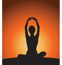 Yoga woman silhouette on sunset vector image