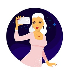 Young girl in pink dress makes selfie pho vector