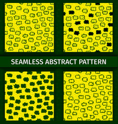 abstract green and yellow seamless patterns set vector image