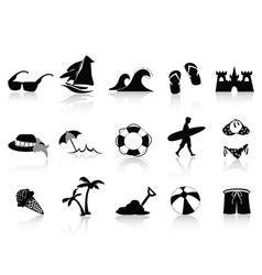 black beach icon set vector image vector image
