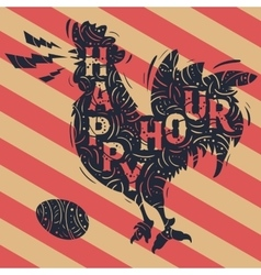 Happy Hour New Vintage Label With Crowing Rooster vector image