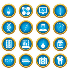medicine icons blue circle set vector image vector image