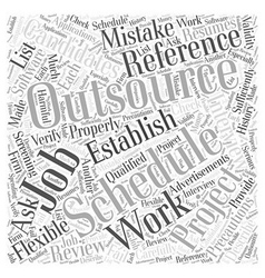 Precautions For Outsourcing Software Jobs Word vector image vector image