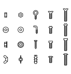 Screws and nuts icon set vector image