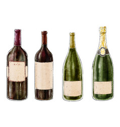 set of wine bottles isolated on white background vector image vector image