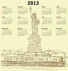statue of liberty vintage 2013 calendar vector image vector image