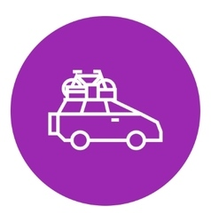 Car with bicycle mounted to the roof line icon vector image