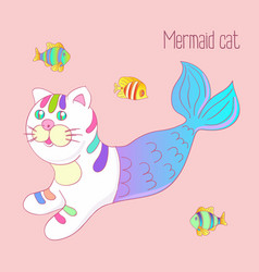 cute mermaid cat purrmaid with purple tail vector image