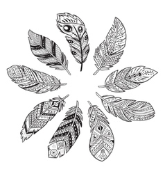 Outline set of abstract boho feathers on a white vector image vector image